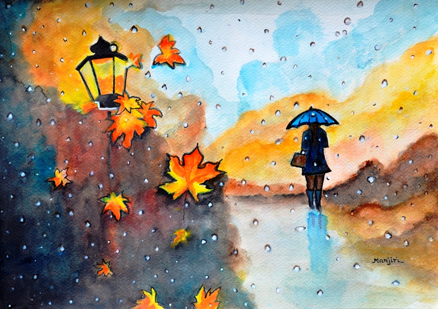 Autumn Rain vibrant colorful watercolor painting