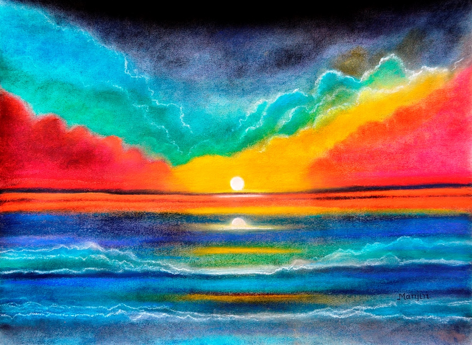 Ocean Sunset colorful pastel painting