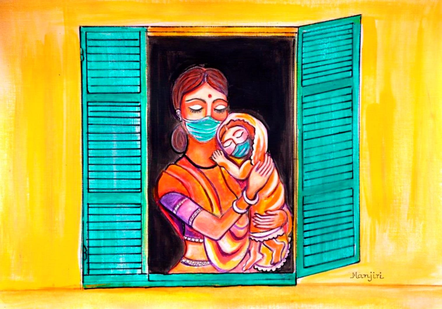 Mother and child window to the world pandemic art