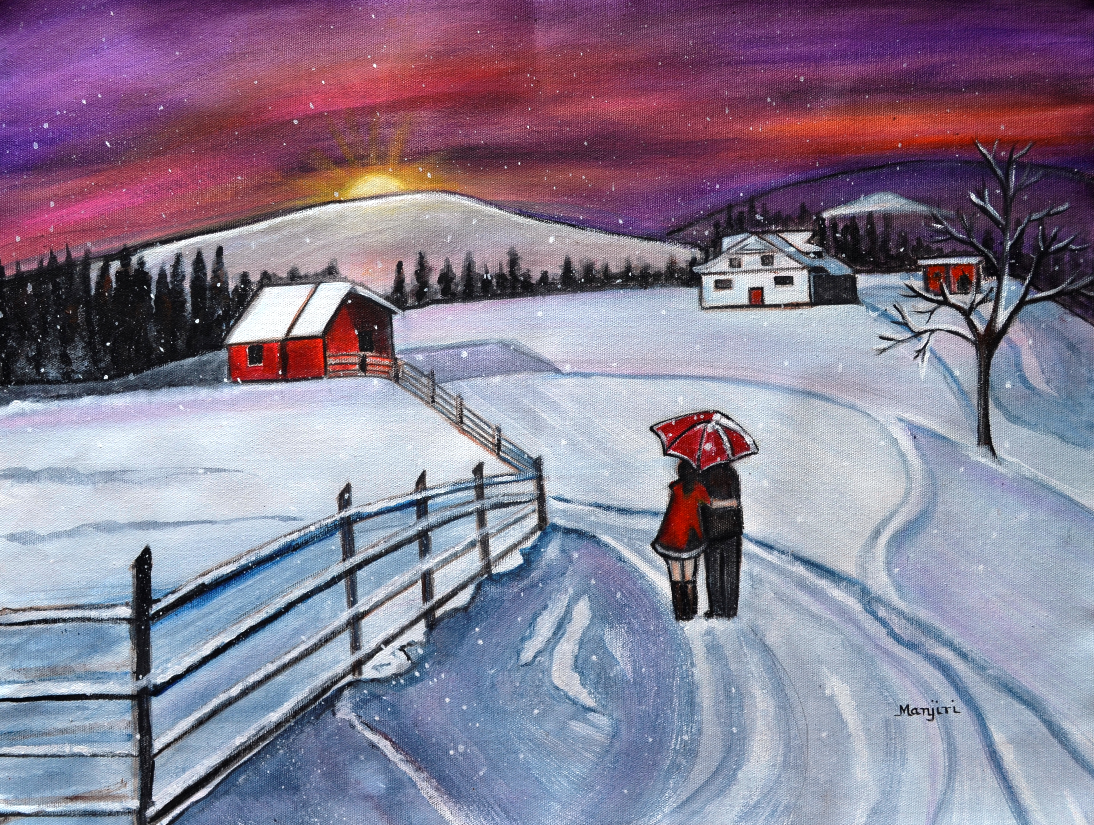 Christmas romance in the snow acrylic winter painting