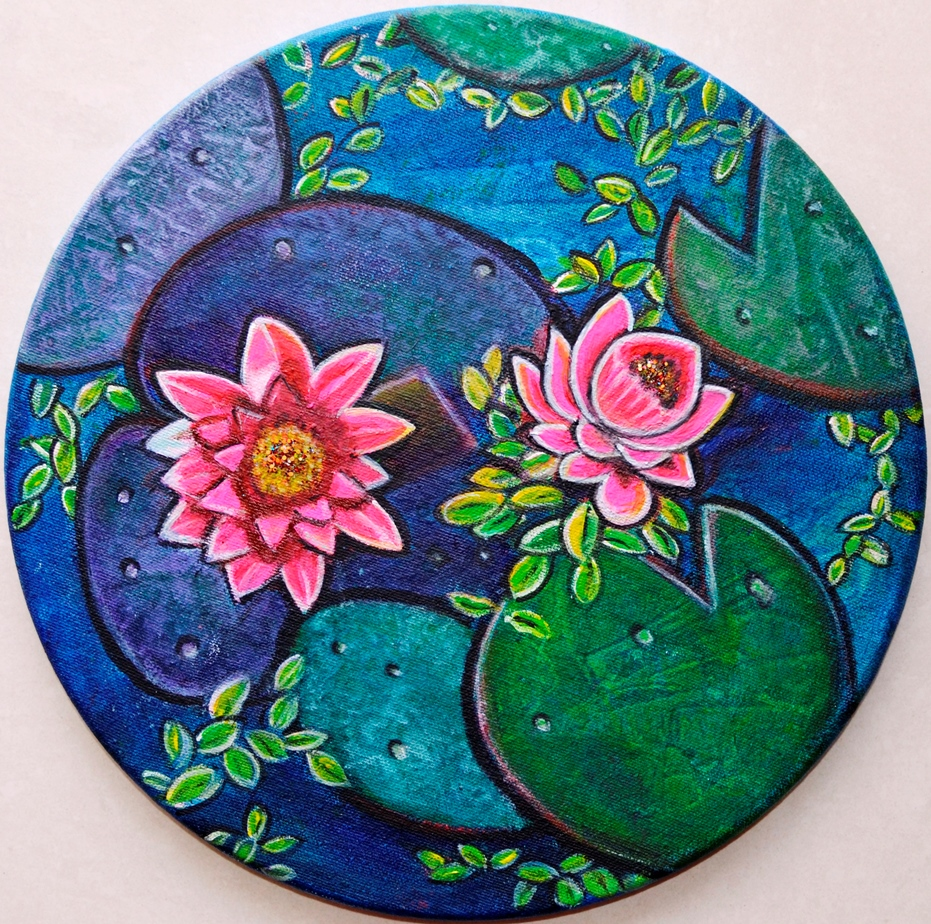 Waterlily pond floral textured acrylic painting on round canvas