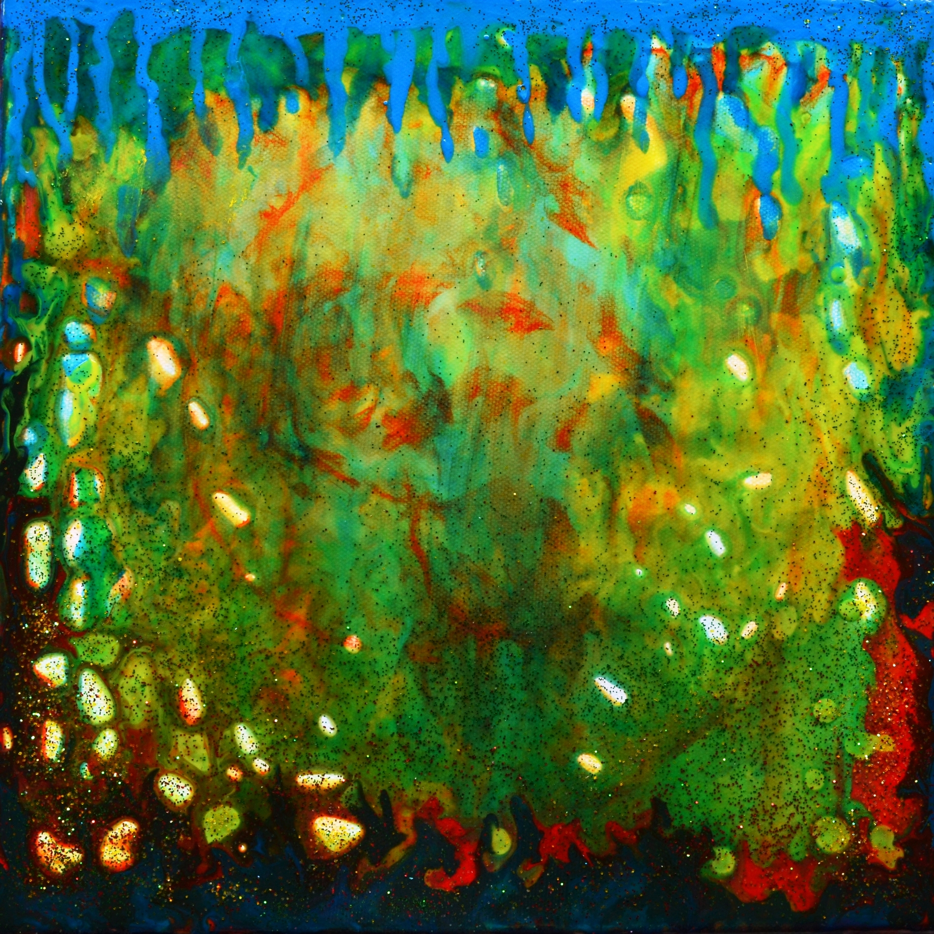 GLITTERING CORAL COLORFUL ABSTRACT PAINTING