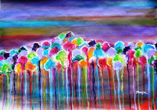 ENCHANTED FOREST ABSTRACT PAINTING