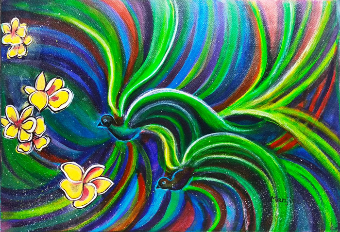 BIRD SYMPHONY WITH FRANGIPANI ABSTRACT PAINTING