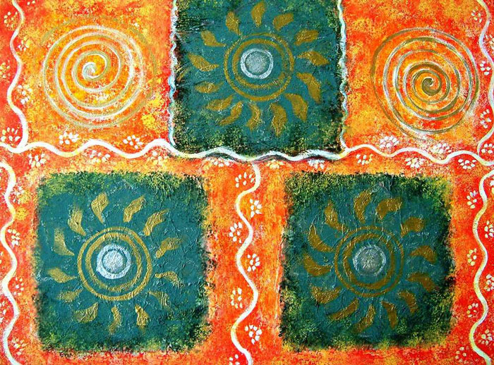 RANGOLI ABSTRACT FOLK ART ON CANVAS