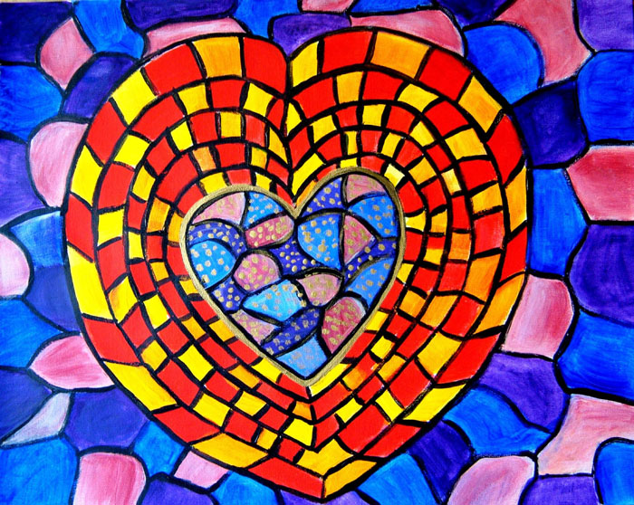MOSAIC HEART ABSTRACT PAINTING GIFT FOR VALENTINE