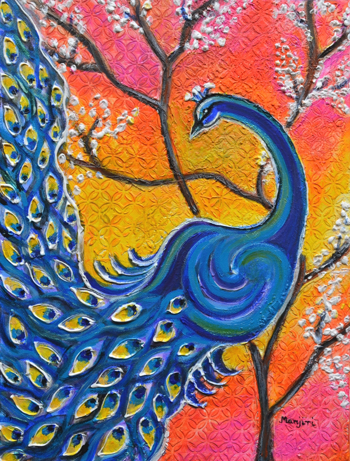MAJESTIC PEACOCK COLORFUL TEXTURED ART