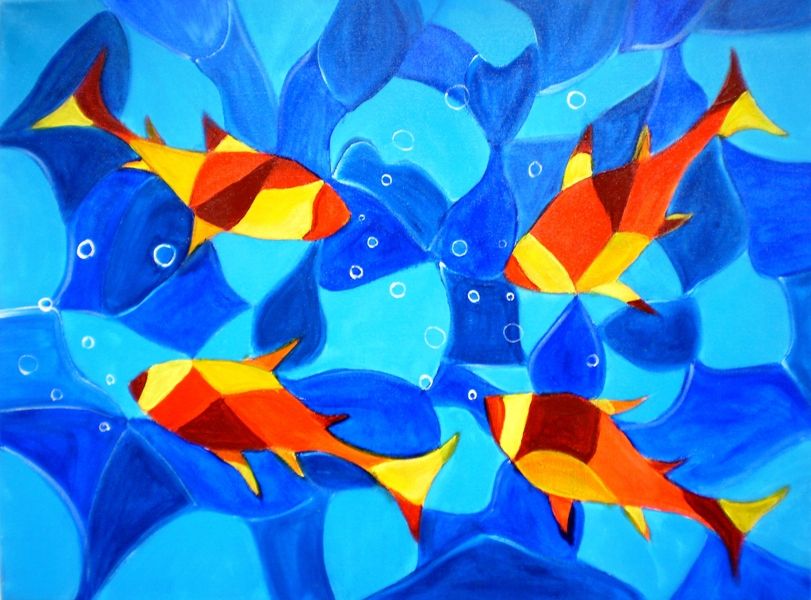 JOY FISH ABSTRACT ON CANVAS