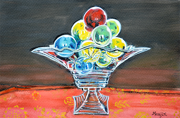 STILL LIFE CHRISTMAS BAUBLES IN GLASS VASE WATERCOLOR PAINTING