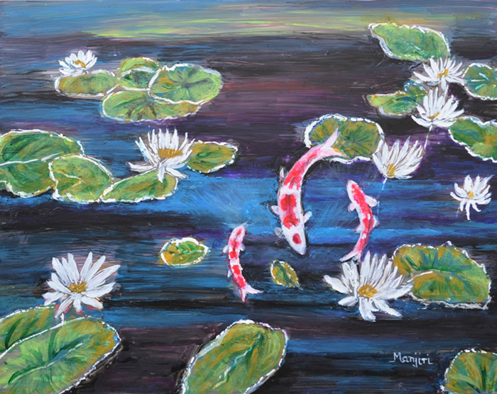 KOI IN LILLY POND