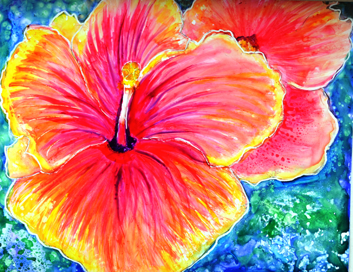 PINK HIBISCUS FLORAL PAINTING ON YUPO