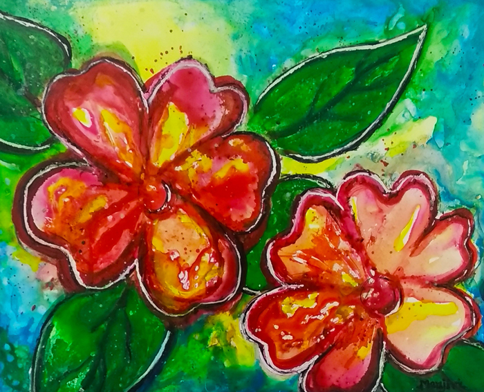 FLOWER POWER VIBRANT PAINTING ON YUPO