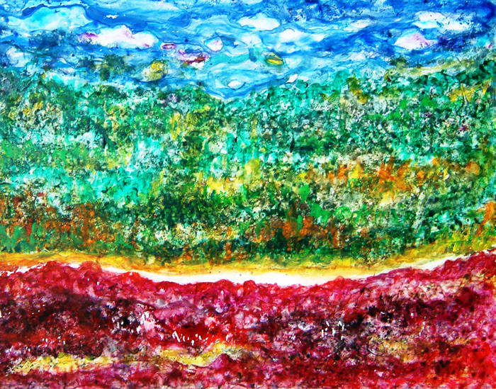 ABSTRACT LANDSCAPE ON YUPO PAPER