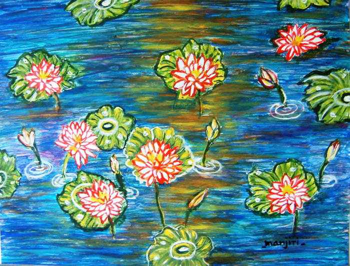 LOTUS POND II VIBRANT AND COLORFUL ABSTRACT IMPRESSIONIST PAINTING