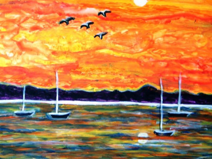 SUNSET GLORY BOAT LANDSCAPE PAINTING ON YUPO
