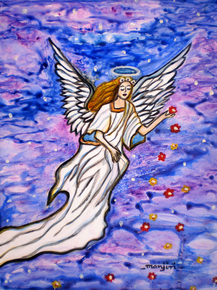 GUARDIAN ANGEL SPIRITUAL PAINTING ON YUPO
