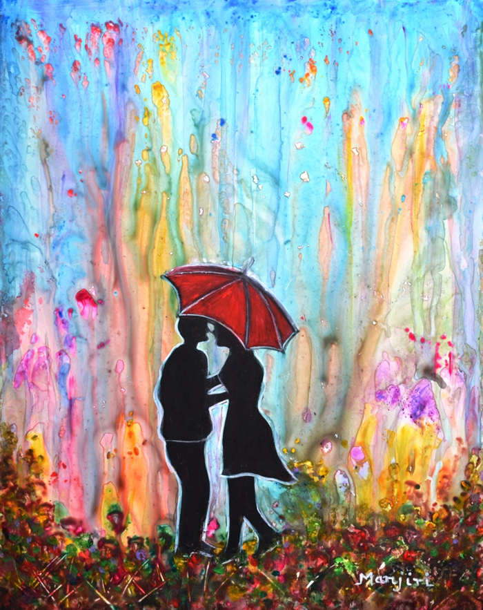 COUPLE ON A RAINY DATE ROMANTIC PAINTING FOR VALENTINE