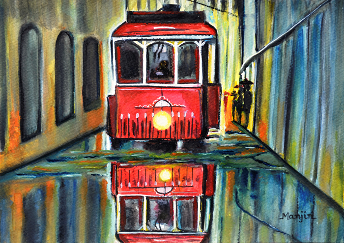 RED TRAM RAINY LANDSCAPE