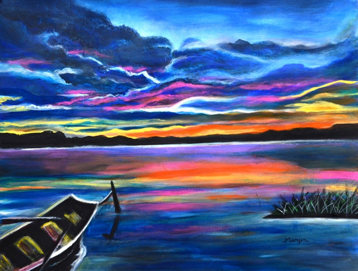 LEFT ALONE A SEASCAPE BOAT PAINTING AT SUNSET