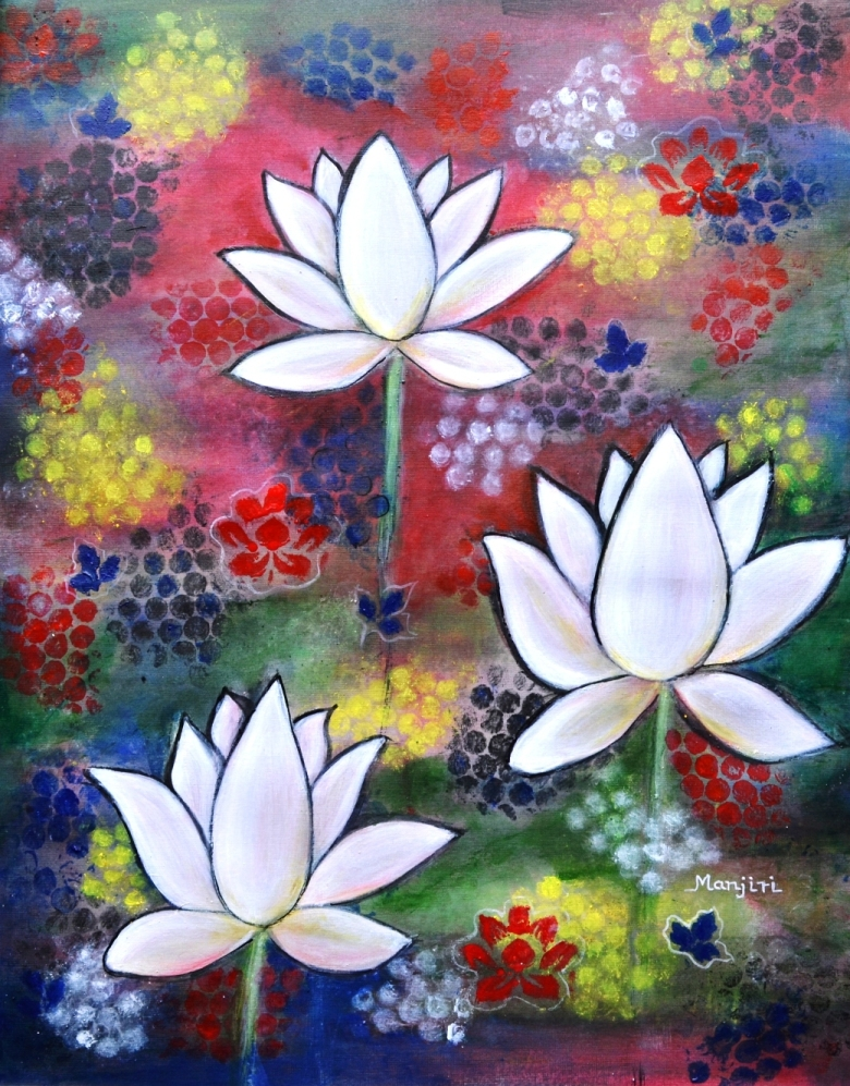 Lotus Trio a vibrant waterlillies abstract art
