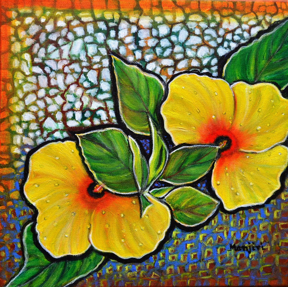 Yellow Hibiscus a decorative painting with mosaic style on sale