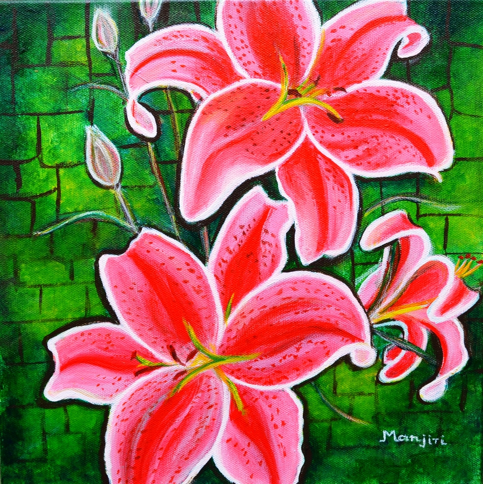 Stargazer Lilies bold and vibrant floral painting on canvas