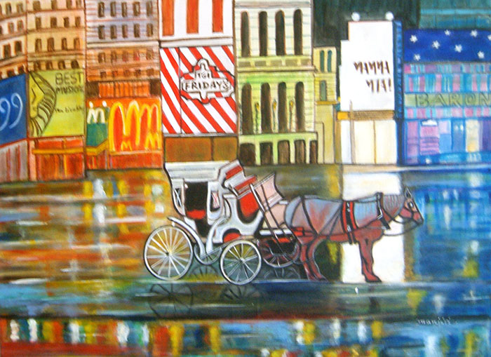 EVENING IN NEW YORK A VIBRANT PAINTING ON CANVAS