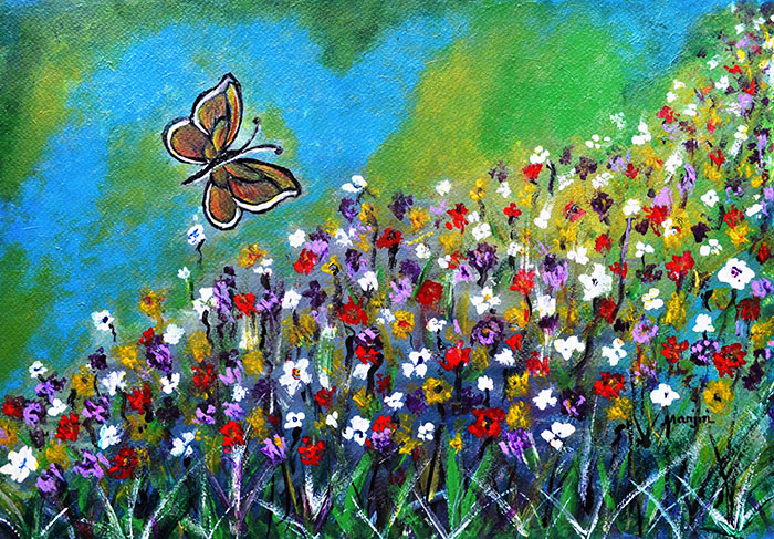 BUTTRFLY MEADOW A CHEERFUL LANDSCAPE PAINTING