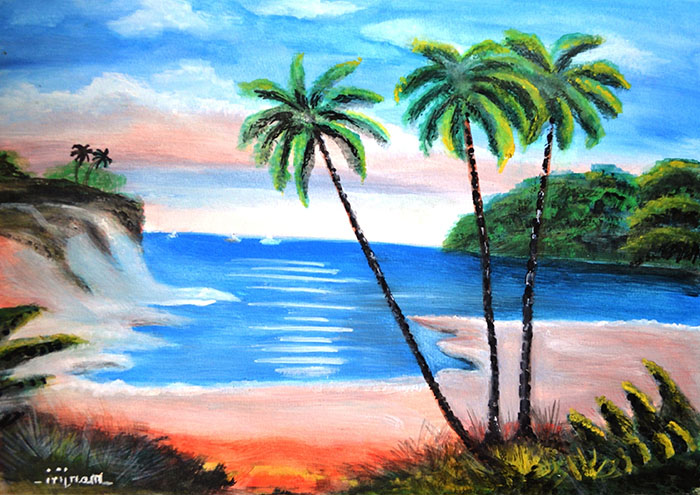 THE BEACH COLORFULLANDSCAPE PAINTING