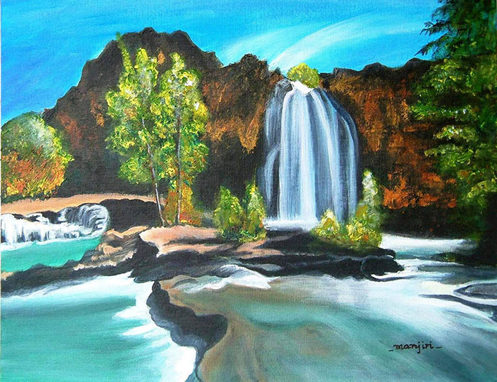 THE WATERFALL LANDSCAPE PAINTING ON CANVAS BOARD