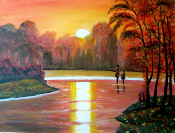 GONE FISHING VIBRANT LANDSCAPE ON CANVAS
