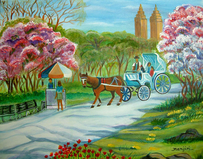 SPRING IN NEW YORK LANDSCAPE PAINTING ON CANVAS BOARD