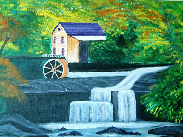 WINDMILL COTTAGE LANDSCAPE PAINTING