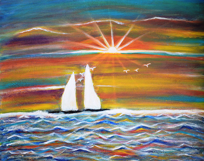 BOATS AT SUNSET A VIBRANT PAINTING