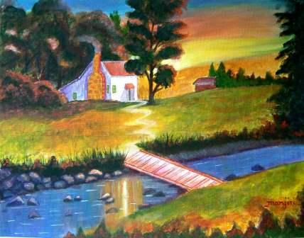 SUNSET COTTAGE VIBRANT LANDSCAPE PAINTING ON CANVAS BOARD
