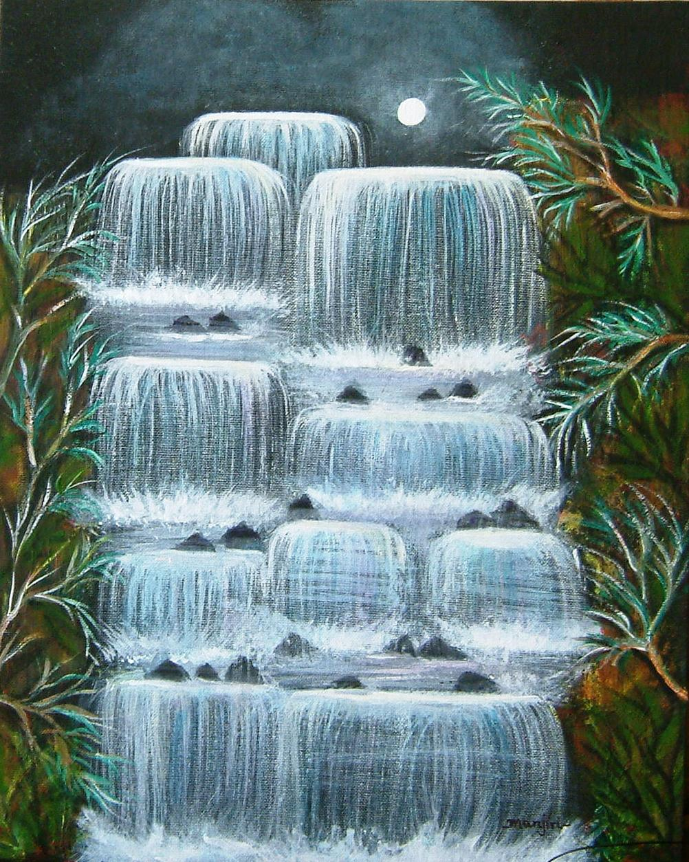 MOON LIT FALLS LANDSCAPE ON CANVAS BOARD