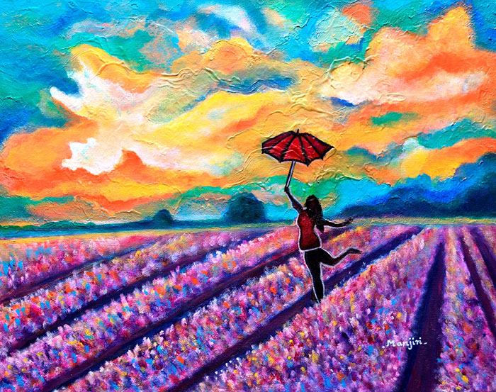 LAVENDER FIELD WALK-GIRL WITH UMBRELLA