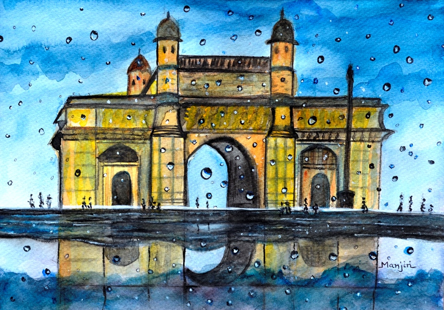 Gateway of India rainy watercolor landscape painting
