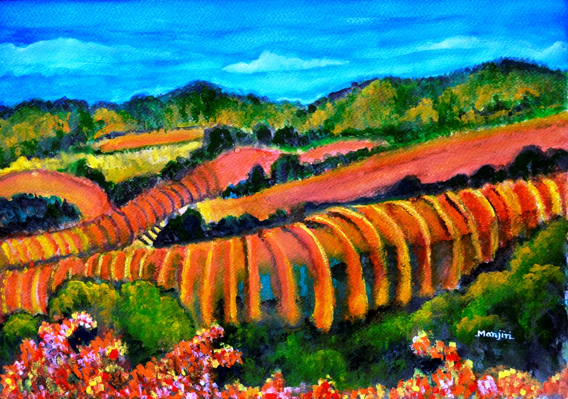 Sonoma valley California colorful landscape painting