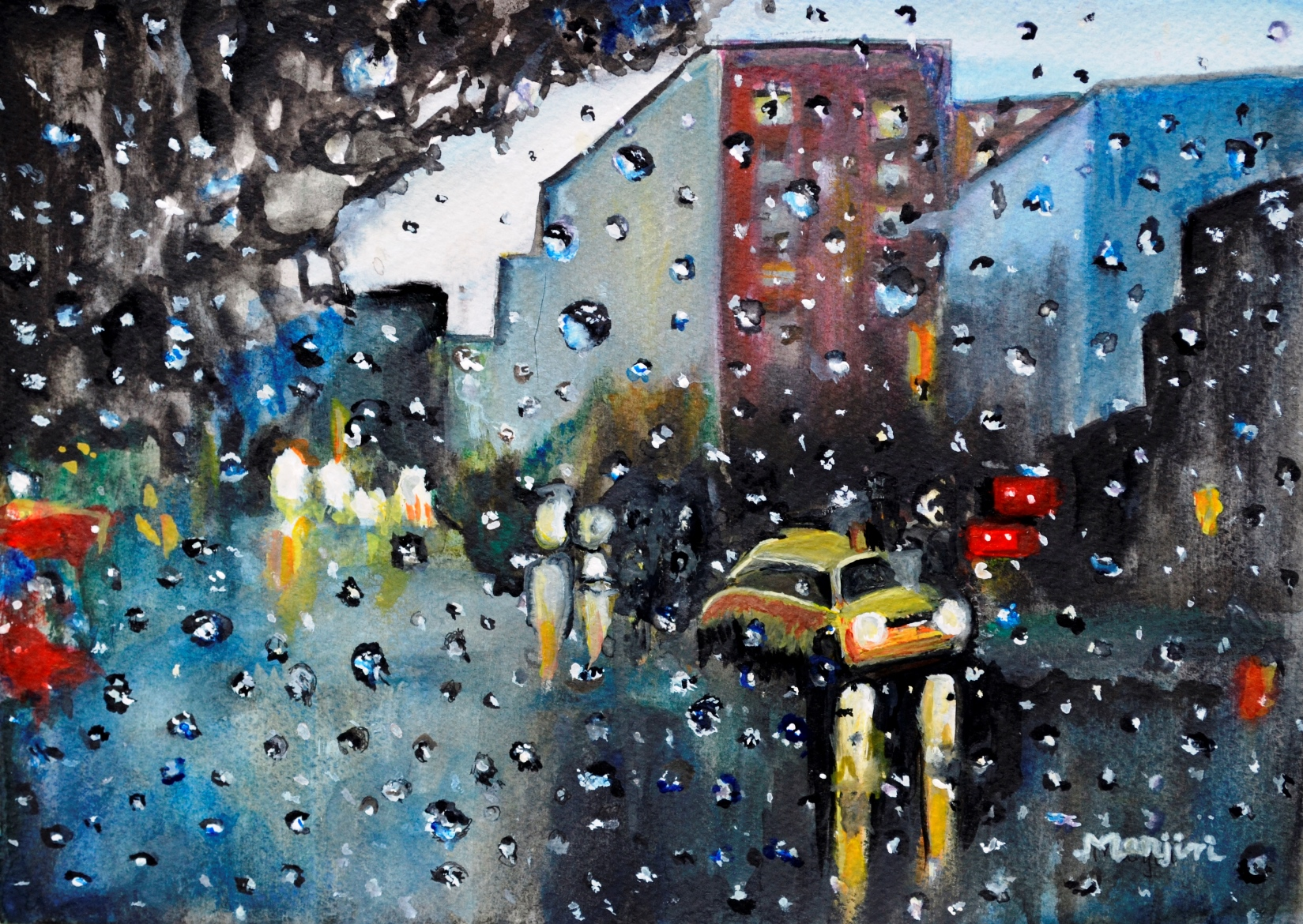 Long Drive in the rain romantic watercolor
