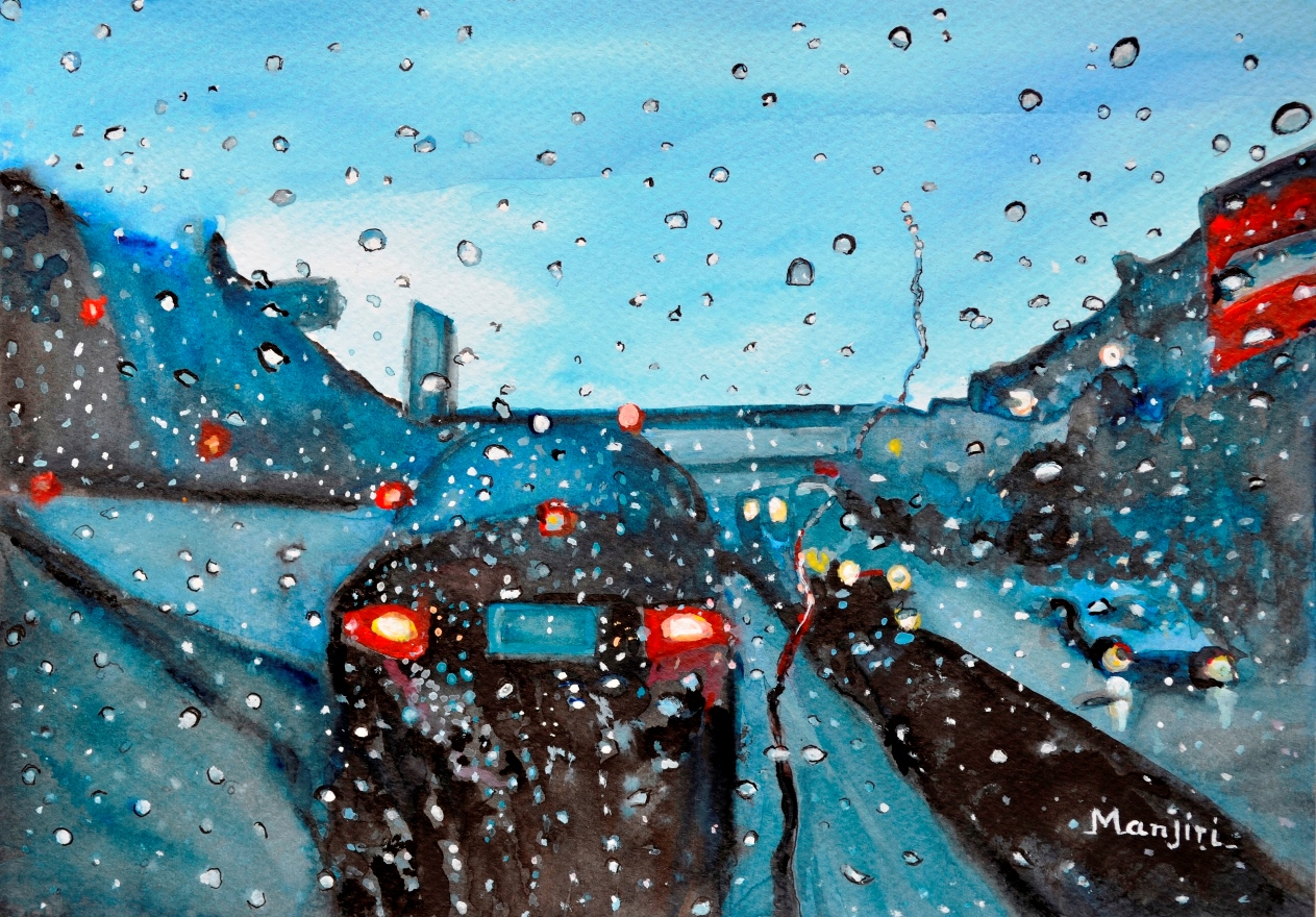 Long drive on Highway romantic rainy painting